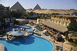Le Meridien Pyrimides Hotel with pyramids behind