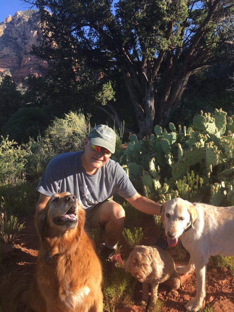 richard and 3 dogs