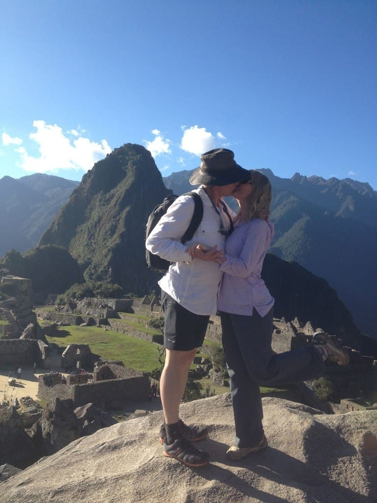 Kissing in Machu Picchu