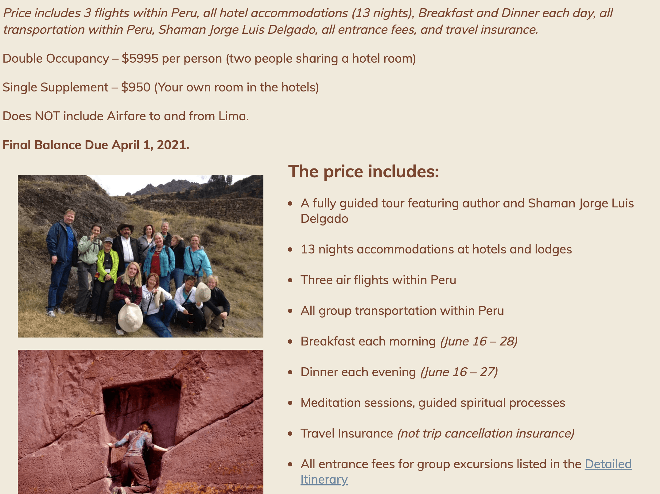 peru 2021 price includes