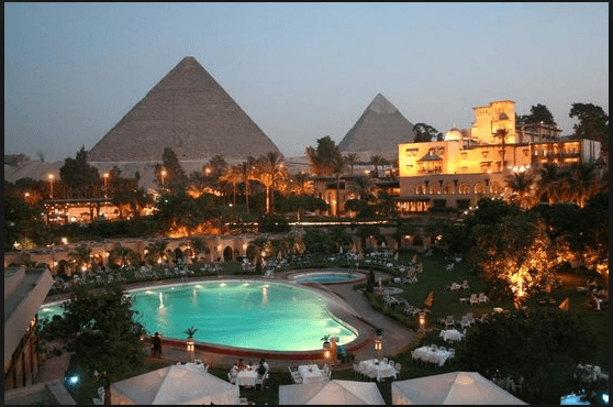 two pyramids and pool